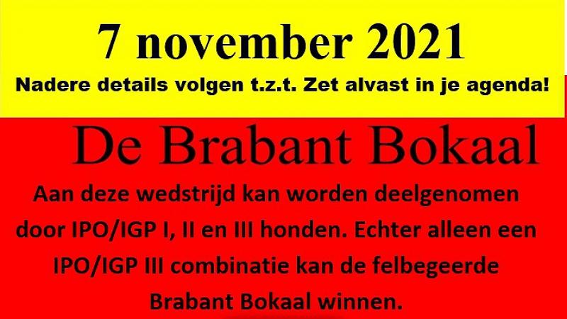 Brabant Bokaal verzet naar 7 november 2021!